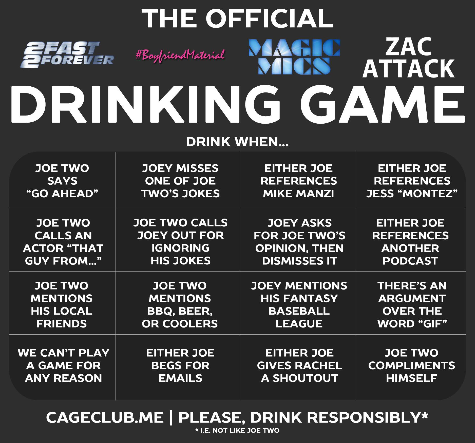 Joe Two Podcast Drinking Games
