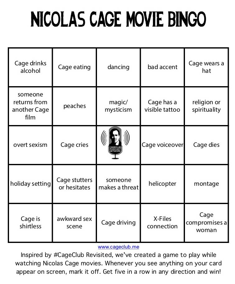 Nicolas Cage Movie Bingo
